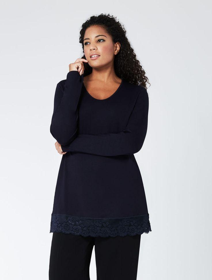 "T-shirt in jersey con profilo in pizzo, blu marino - ""VAMPA"" Marina Rinaldi"