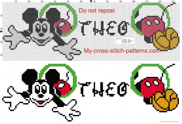 Theo name whit Mickey Mouse cross stitch patterns free