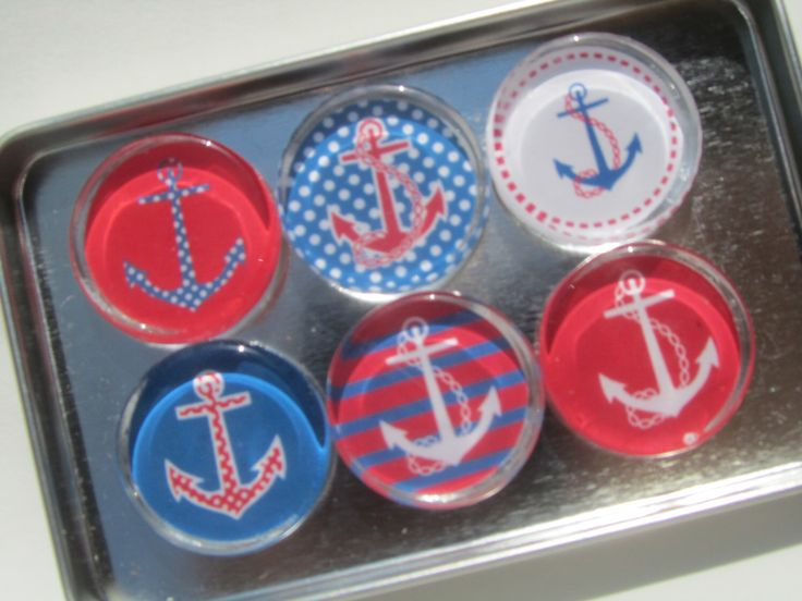 Nautical Anchor Magnets, Sailing Theme, Boat Theme Magnet Set of Six with Storage Tin by UpNorthKnitsAndGifts on Etsy https://www.etsy.com/listing/234257039/nautical-anchor-magnets-sailing-theme