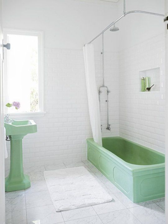 Green And Gray Bathroom Ideas Part - 36: Retro Bathroom Refresh: Why Older Bathroom Suites Are Still Sweet