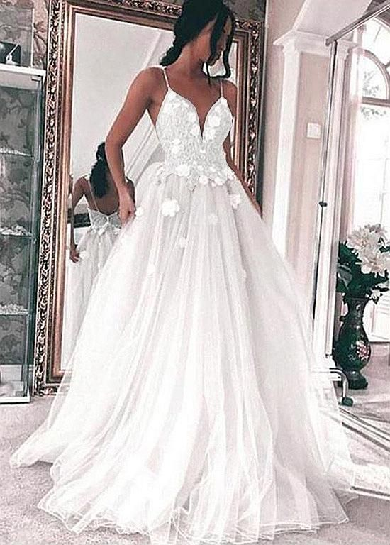 Lilybridalshop Fabulous Tulle Spaghetti Staps Neckline A-line Wedding Dresses With Beaded Lace Appliques & Handmade Flowers
