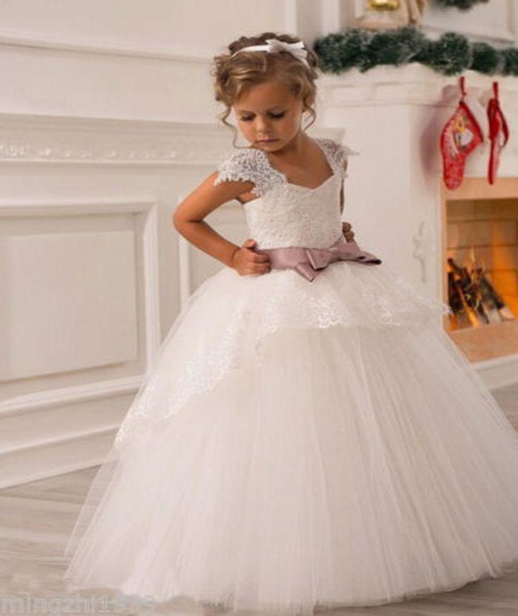 2015 New Wedding Party Formal Flowers Girl Dress Baby Pageant Dresses Birthday Cummunion Toddler Kids Tulle Custom