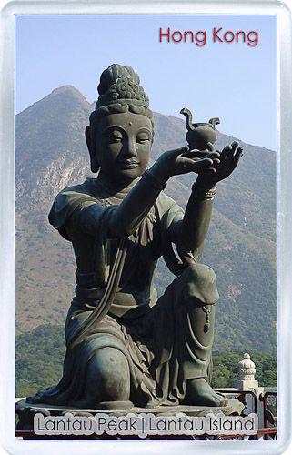 Acrylic Fridge Magnet: Hong Kong. Buddhistic Statues. Lantau Peak. Lantau Island