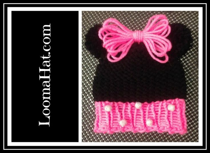 Loom Knit Baby Hat With Ear Flaps : Loom knit minnie mouse hat on round cute baby