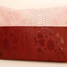 Pochette croco sac simili cuir bicolore rose/rouge