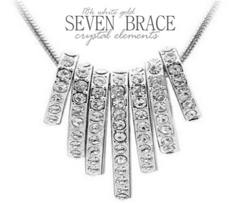 18K White Gold Plated Seven Brace Crystal Elements Necklace. This amazing piece features seven crystal braces and looks stunning on your neck as it sparkles and shines. Perfect match for every outfit and occasion. Available online at #ikOala for just $18.00.