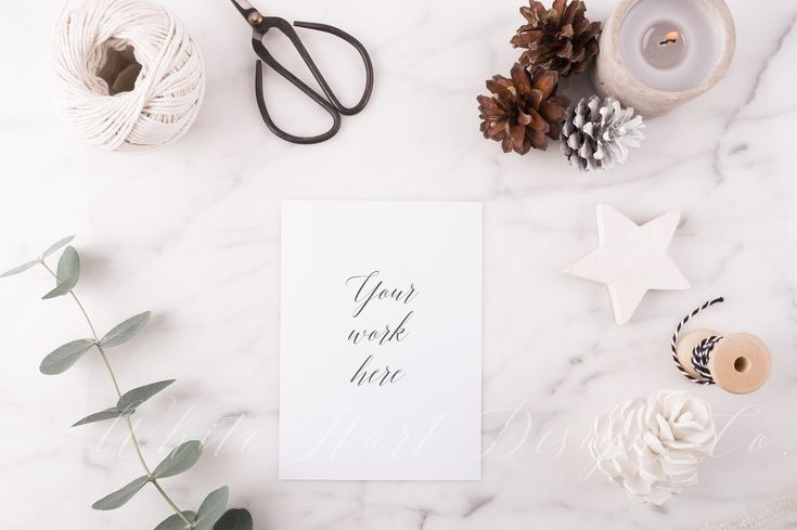 Styled stock photography ONE + ONE FREE - Christmas greeting card mock up - Natural Xmas styling - Flatlay - calligraphy, mockups, lettering by WhiteHartDesignCo on Etsy