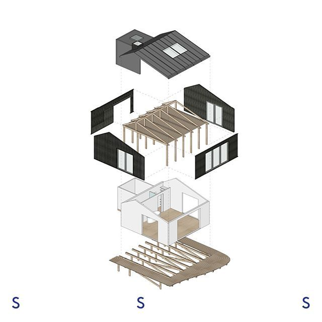 An Exploded View Of Our Easy To Build Dark Modular Beach House Studiospacious Architecture Interiorarchitecture Interior Dekorasi Rumah Rumah
