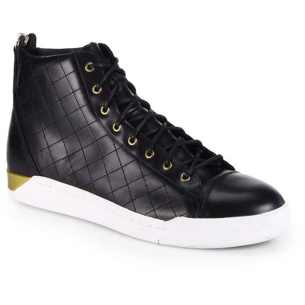Diesel Men's Diamond High-Top Sneakers (640 BRL) ❤ liked on Polyvore featuring men's fashion, men's shoes, men's sneakers, apparel & accessories, black, mens high tops, mens high top shoes, mens high top sneakers, mens hi top sneakers and mens sneakers
