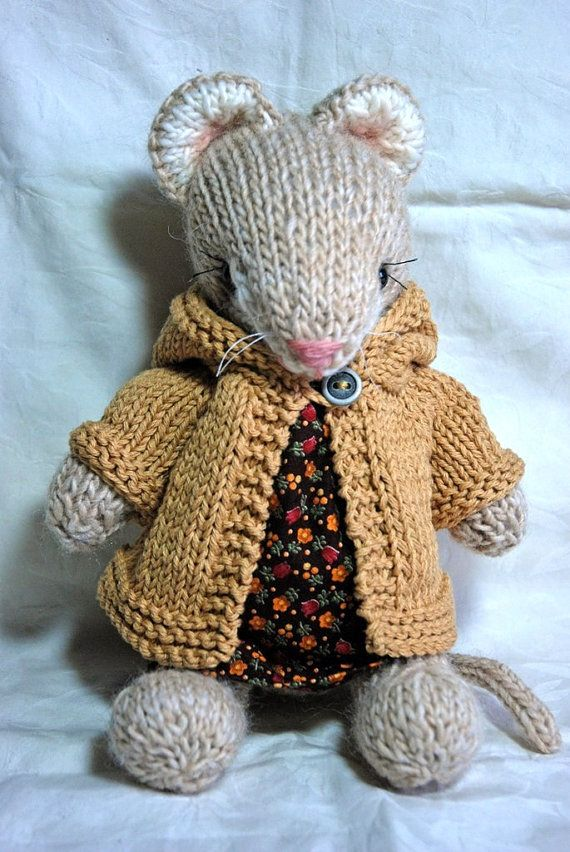 Ursula- Knitted Woodland Mouse Toy in Cotton Floral Dress and Hoodie