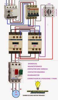 Esquemas eléctricos: CAMBIO DE GIRO DE MOTOR TRIFASIO CON SELECTOR TRES...
