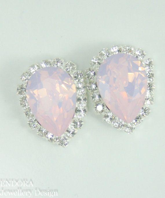 Pink opal Swarovski crystal earrings   Pink bridal jewelry   Pink Crystal bridesmaid earrings   #EndoraJewellery,