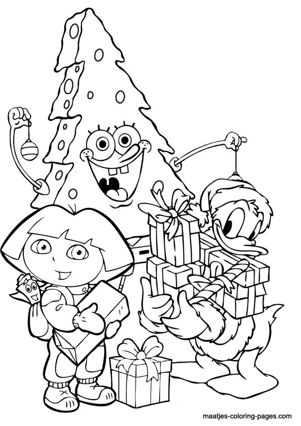 Christmas Coloring Page Spongebob As Tree And Donald Duck Dora The Explorer With
