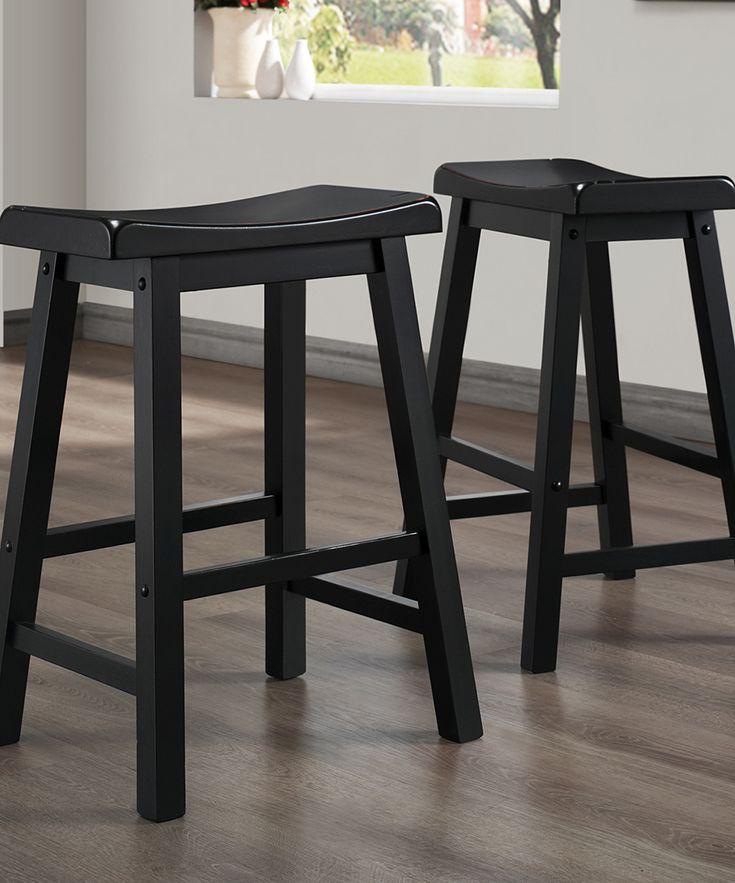 24'' Black Erickson Saddle Stool - Set of 2
