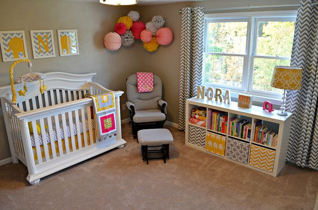 nursery room setup---i like the bookshelf and location Nursery but different colors for our baby girl NO YELLOWS