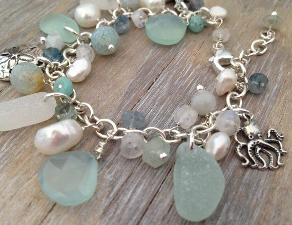 Sea Glass Charm Bracelet with Sand dollar by MermaidCharms on Etsy