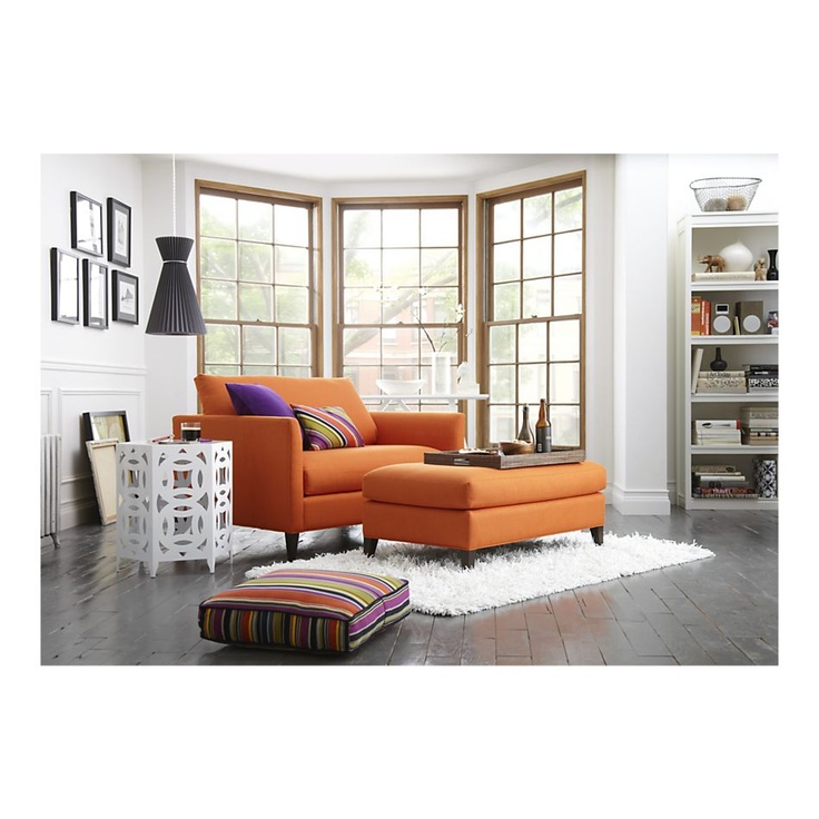 Crate and Barrel Klyne Chair and a half in saffron