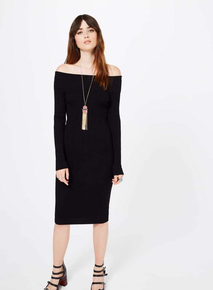 Knitted Black Bardot Dress - Miss Selfridge