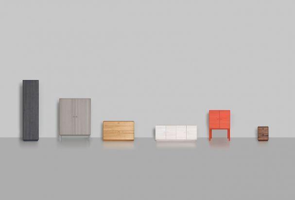"""""""KIN"""" – Die Schrank-Familie. Für Zeitraum entwarf Mathias Hahn Schränke mit den unterschiedlichsten Proportionen. (Foto: Zeitraum)"""
