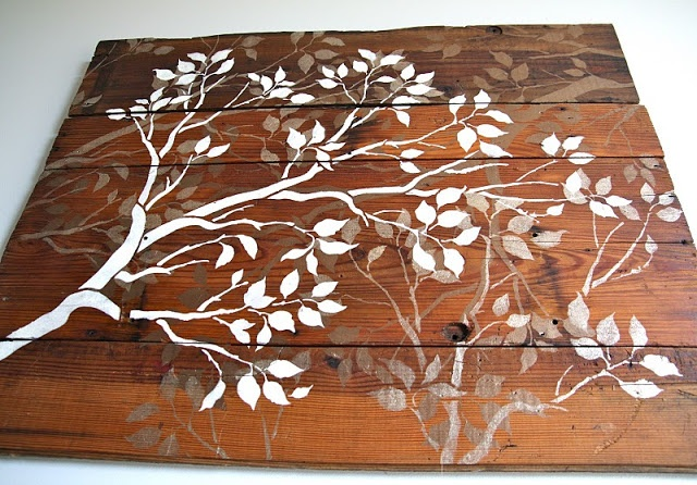Reclaimed wood art. Grey and white tree silhouettes.