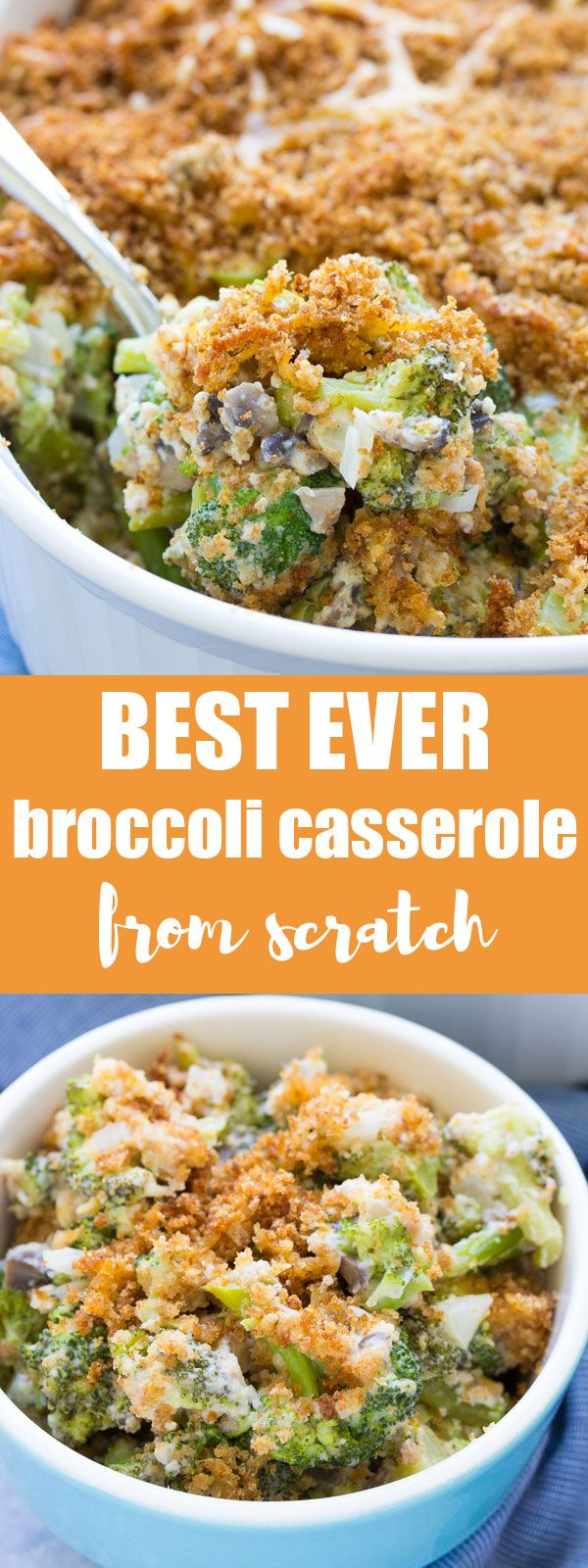 This best ever broccoli casserole from scratch is filled with fresh broccoli, mushrooms, cheddar cheese, and a homemade cream sauce. With a buttery, cheesy breadcrumb topping! This healthier broccoli casserole is made without mayonnaise!