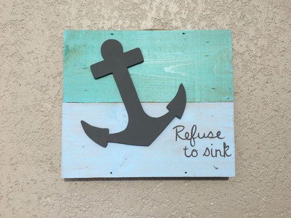 Anclaje de signo decoración náutica decoración de por PeavyPieces