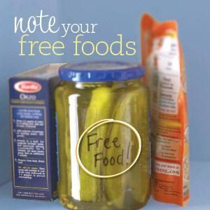 "Note the foods that are ""free"" in reasonable portions on your meal plan. Use an indelible marker to write it right on the container. Make sure you stick with the serving size to avoid having too many carbs. Most diabetic meal plans consider anything under 5 crabs per serving  ""free"" food, however, if you are a low carb plan, that number will be lower."