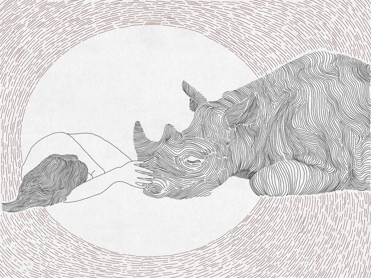 Friendship, girl and rhino  line art print. $27.00, via Etsy.