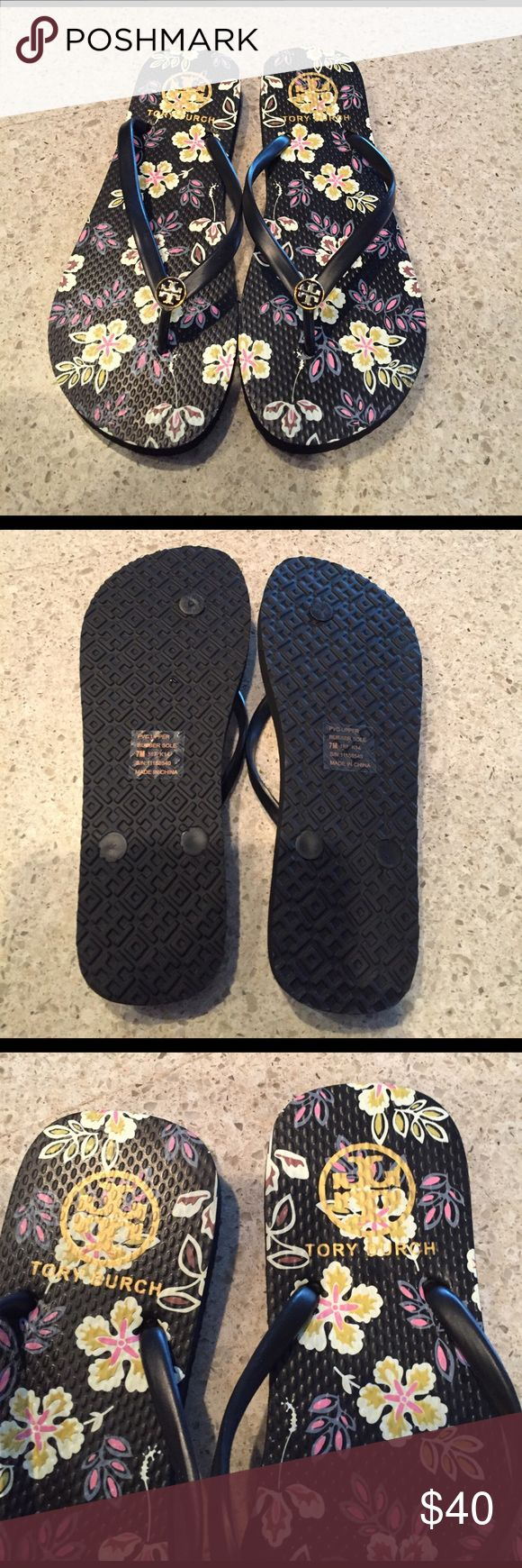 BRAND NEW TORY BURCH FLIP FLOPS  Brand new, never worn Tory Burch floral flip flops! Very pretty floral design. No box Tory Burch Shoes Sandals
