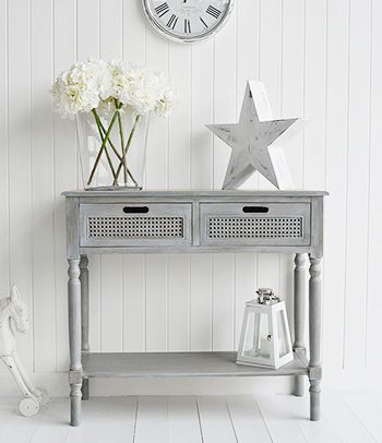 Colonial style grey furniture console table with drawers - White colonial bedroom furniture ...
