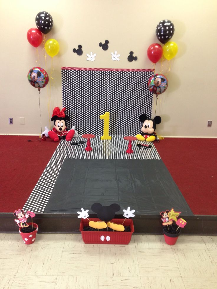 Mickey Mouse first birthday smash cake photo props