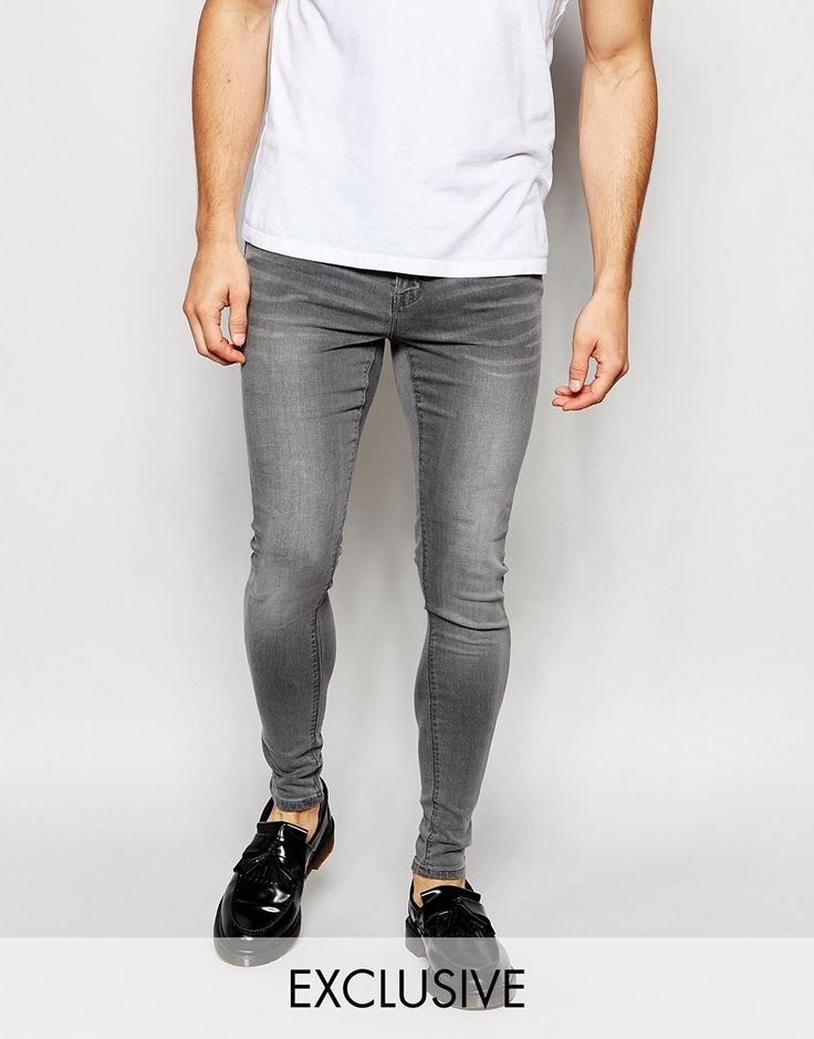 Exclusive to ASOS Waven Jeans Extreme Super Skinny Fit Mid Rise Elephant Grey