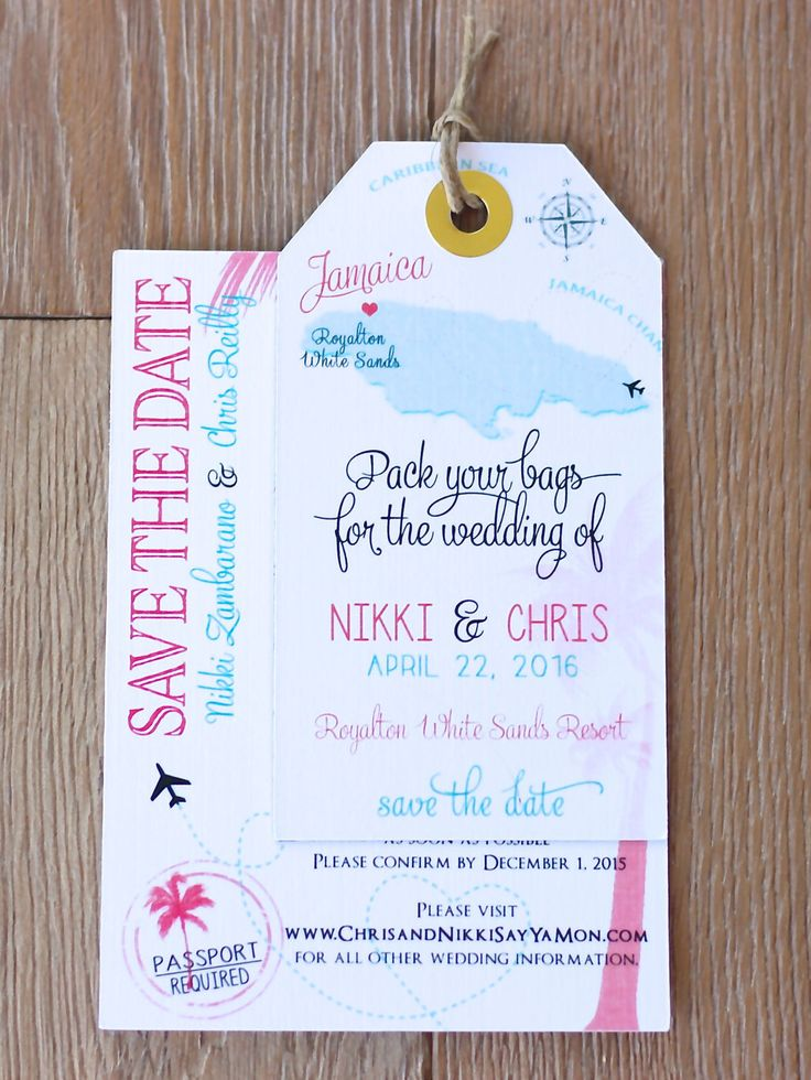destination wedding save the dates and invitations%0A Wedding invitation Jamaica Save the Date Luggage Tag Magnet with  Information u