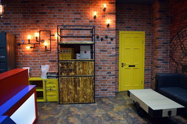 Стеллаж (металл+сосна), желтая дверь, диван из кожзама на металлокаркасе, стойка администратора с подсветкой - все это наших рук дело!☺️ Любые изделия из металла и дерева, лофт-мебель на заказ. Звоните! +7(903)828-2008 ( viber, whatsapp)    #playwood76 #мебельизметалла #металлическаямебель #мебельлофт #мебельвстилелофт #лофтмебель #изделияизметалла #изделияназаказ #металлическаядверь #цес #северсталь #severstal