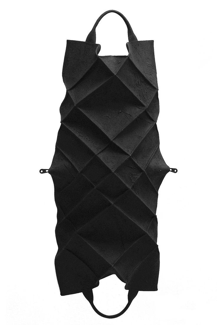 Kagari Yusuke Black Leather & Putty Geometric Tote Bag | unconventional