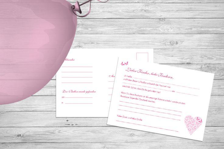 """Ballonkarte zur Hochzeit """"Butterfly Love"""" mit Schmetterling, ©passion4paper, www.die-edle-karte.de"""