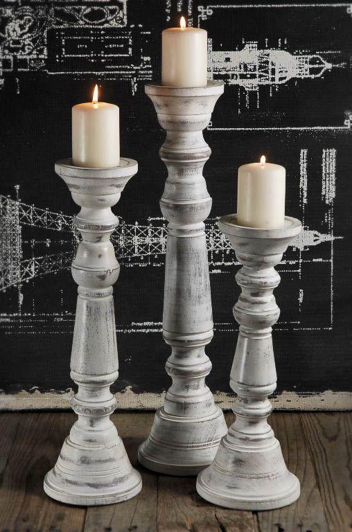 Wood Pillar Candle Holder Set of 3 White