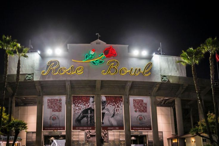 "The Rose Bowl Nicknamed ""The Granddaddy of Them All,"" the Rose Bowl in Pasadena, California, is the oldest bowl game in college football. First played in 1902 and then annually starting in 1916, the Rose Bowl typically hosts the winner of the Big Ten and Pac-12 conferences but since 2015, the venue has alternated hosting a semi-final game of the College Football Playoff. The 92,542 seat stadium is the largest stadium to hose post-season bowl games and San Gabriel Mountains off in the…"