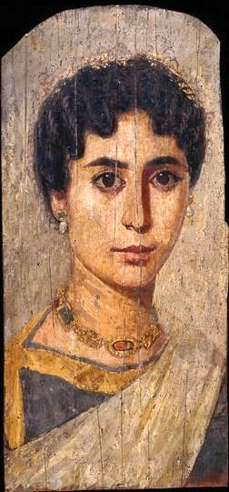 Gilded mummy portrait of a woman -- Probably from er-Rubayat, Egypt -- Roman Period, about AD 160-170 -- See more mummy portraits here: http://www.britishmuseum.org/research/collection_online/search.aspx?object=21468