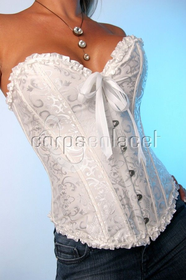 Iv always wanted a corset, one I could wear with jeans, i love this .corsets and bustiers | CORSET BUSTIER SERRE-TAILLE TOP MARIAGE BLANC NOIR NEUF