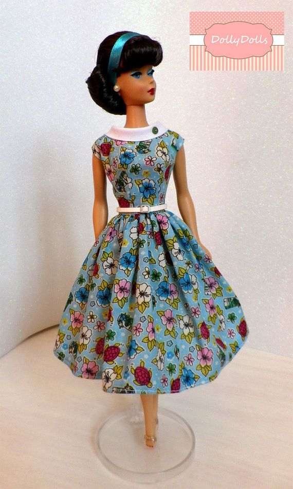 Parigi. Vintage Print Dress for Barbie doll by by MyDollyDolls