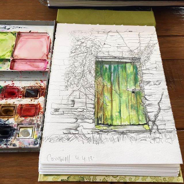 Watercolour Door.  #inspiration #door #drawing #watercolour #sketchbook #cornwall #colour #greens #shades