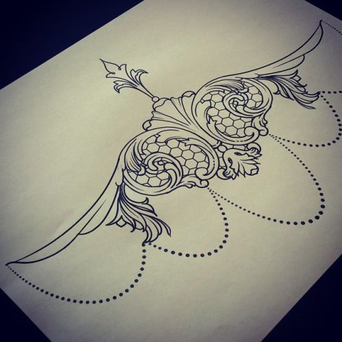 lace sternum tattoo designs - Google Search
