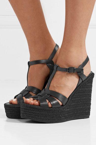 d9ead1ca3dcce SAINT LAURENT - Tribute leather espadrille wedge sandals | Products ...