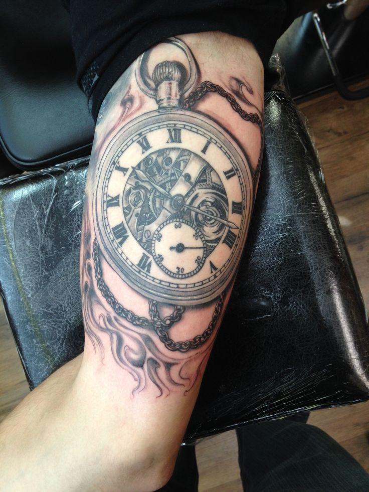 Pocket watch tattoo Tattoo artist: Chuck Schmidt  The parlor tattooing  Saint Joseph MI 1-269-281-0367