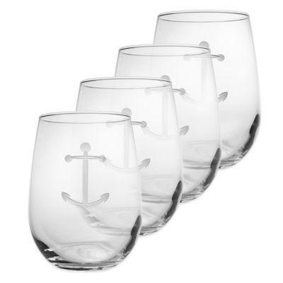 Anchor Stemless Wine Glasses (Set of 4) - BedBathandBeyond.com