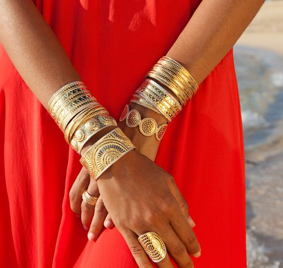 Stacked gold with boho etching. Anna Beck.