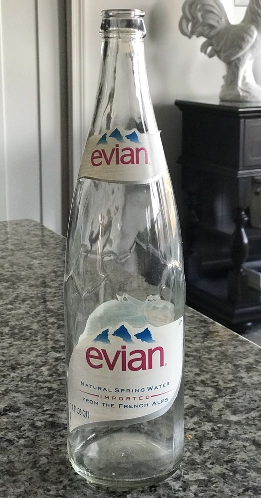 2007 evian Natural Spring Water Imported (USA) 1L Bottle Used Paper Label  | eBay