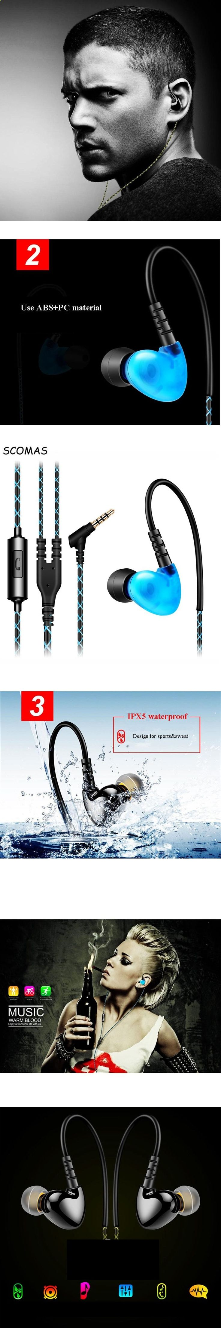 Sports Headphones - SCOMAS Noise Isolating Sweatproof Sport Headphones Earbuds Earphones with Mic Earhook Wired Stereo Earpods for MOBILE PHONE - If you usually go out to run, walk or any other sport in which you usually carry music to accompany or motivate you, we have selected 13 models of sports headphones that we consider among the best in the market for different aspects, from comfort to use to design, sound quality or value for money, so that you find variety and can adjust the m...