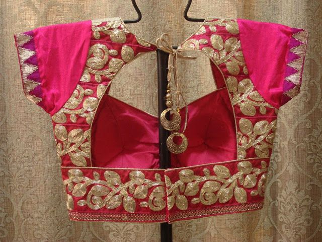 hot pink blouse embroided